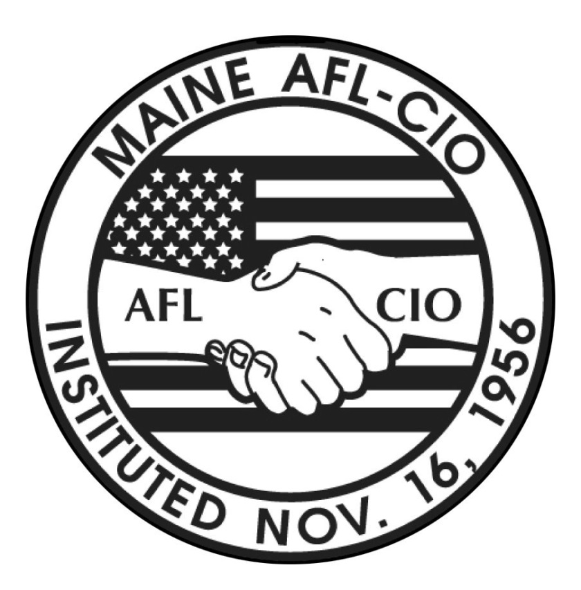 Logo: Maine AFL CIO. Two hands shaking in front of a flag.